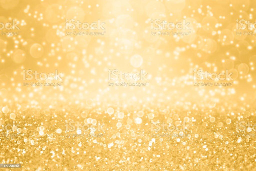 Elegant Gold Glitter Sparkle Background for Wedding Anniversary, Birthday or Christmas stock photo