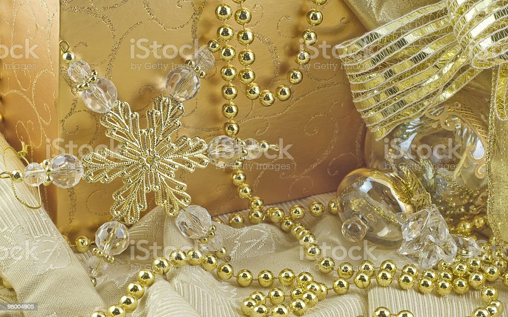 Elegant Gold Holiday Decorations royalty-free stock photo