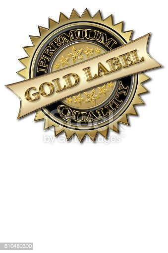 istock Elegant Gold Label, Premium Quality, badge sign in three dimensions, Gold colored, isolated against the white background. 810480300