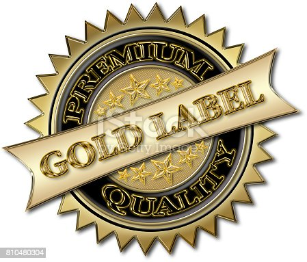 istock Elegant Gold Label, Premium Quality, badge sign in three dimensions, Gold colored, isolated against the white background. 810480304