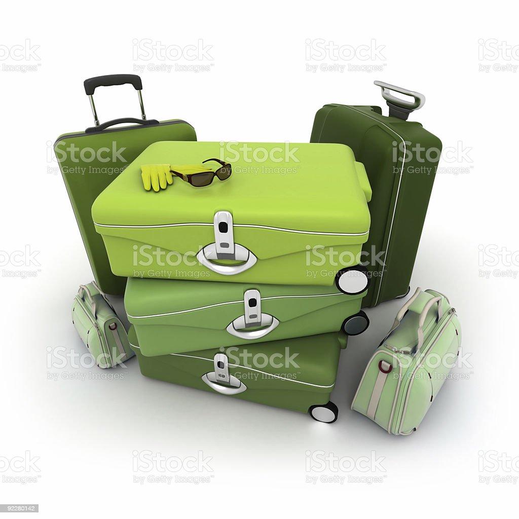 Elegant green luggage kit stock photo
