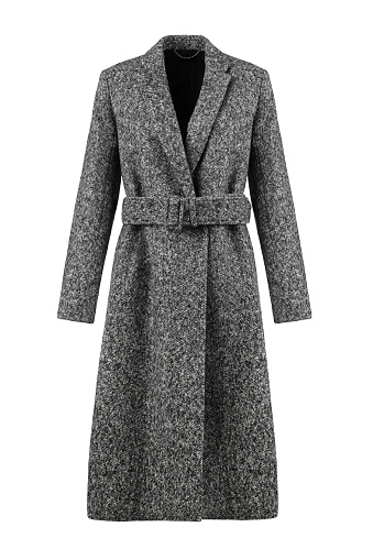 Elegant Grey Wool Women's Coat Isolated on White Background. Stylish Warm Outwear. Best Classic Outdoor Clothing. Front view.