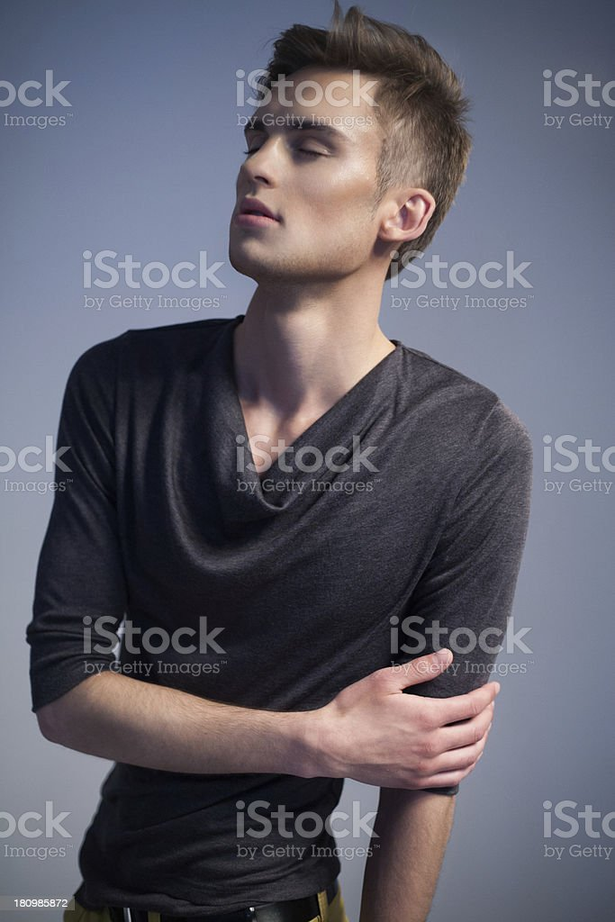 Elegant guy with closed eyes royalty-free stock photo