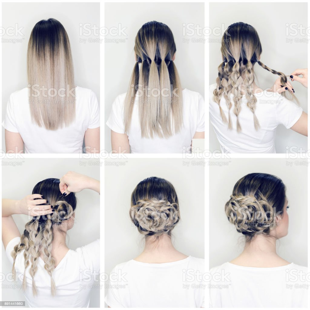 Elegant Hairstyle Rose Bun Step By Step Stock Photo More Pictures