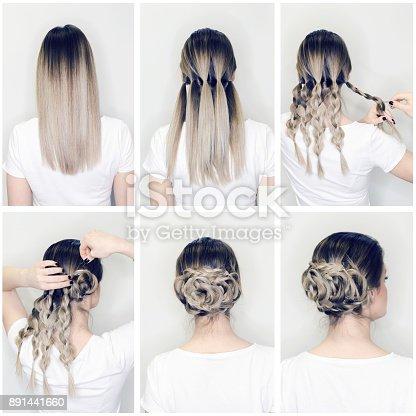 elegant hairstyle rose bun step  step stock photo