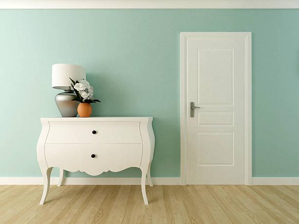 elegant hallway render - schubladenkommode weiß stock-fotos und bilder