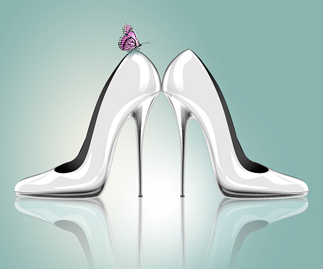 578573556 istock photo Elegant high heel shoes with butterfly 531184095