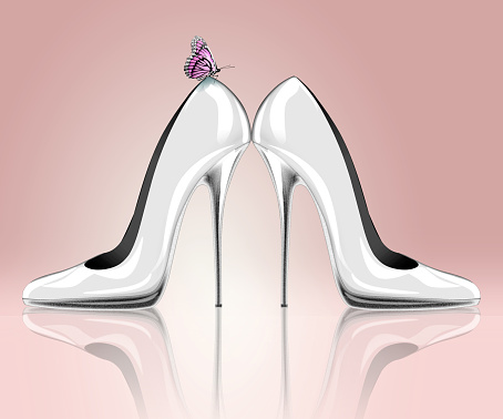 578573556 istock photo Elegant high heel shoes with butterfly 531184099