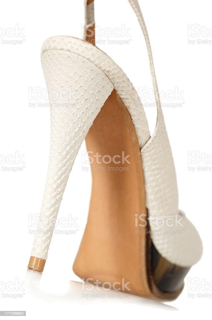 8567bf96 Elegante de zapatos de tacones de sandalias, patente de cuero de piel de  reptil foto