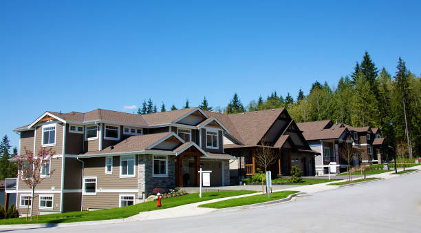 Elegant homes in an upscale residential neighbourhood stock photo