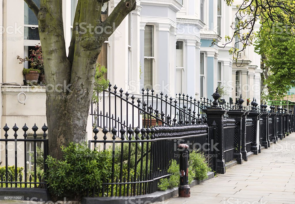 Elegant Homes in Residential Area of London stock photo