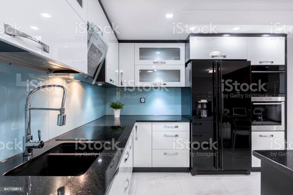 Elegant kitchen interior stock photo