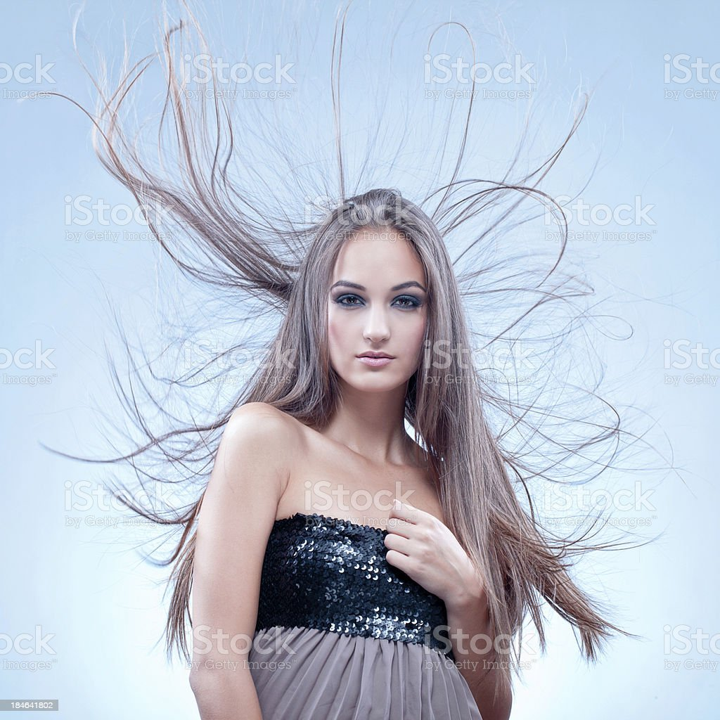Elegant lady with long hair royalty-free stock photo
