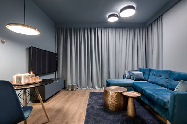 Elegant living room in blue stock photo