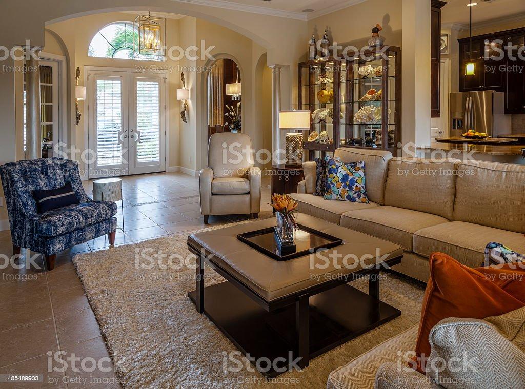 Elegant Living Room in Florida Home stock photo
