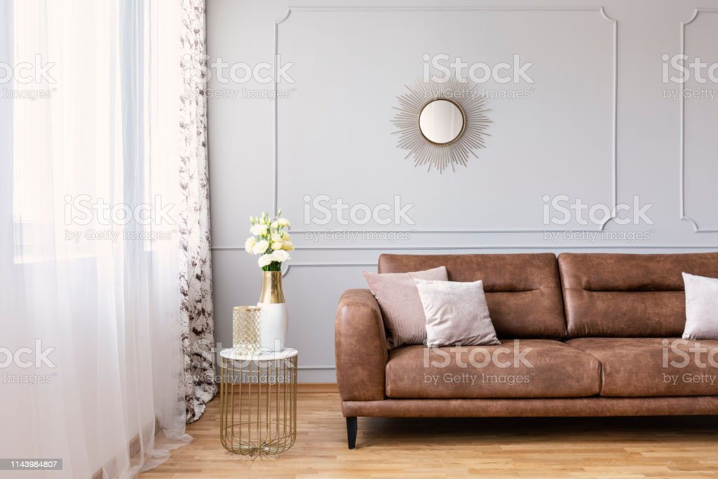 Super Elegant Living Room Interior With A Brown Sofa Side Table Beatyapartments Chair Design Images Beatyapartmentscom
