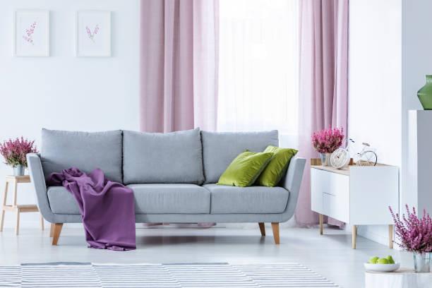 elegant woonkamer met grote comfortabele grijs couch met olijfgroen kussens en paarse deken in het midden van de stijlvolle woonkamer met kachel in potten en lila curtainsbike - photography curtains stockfoto's en -beelden