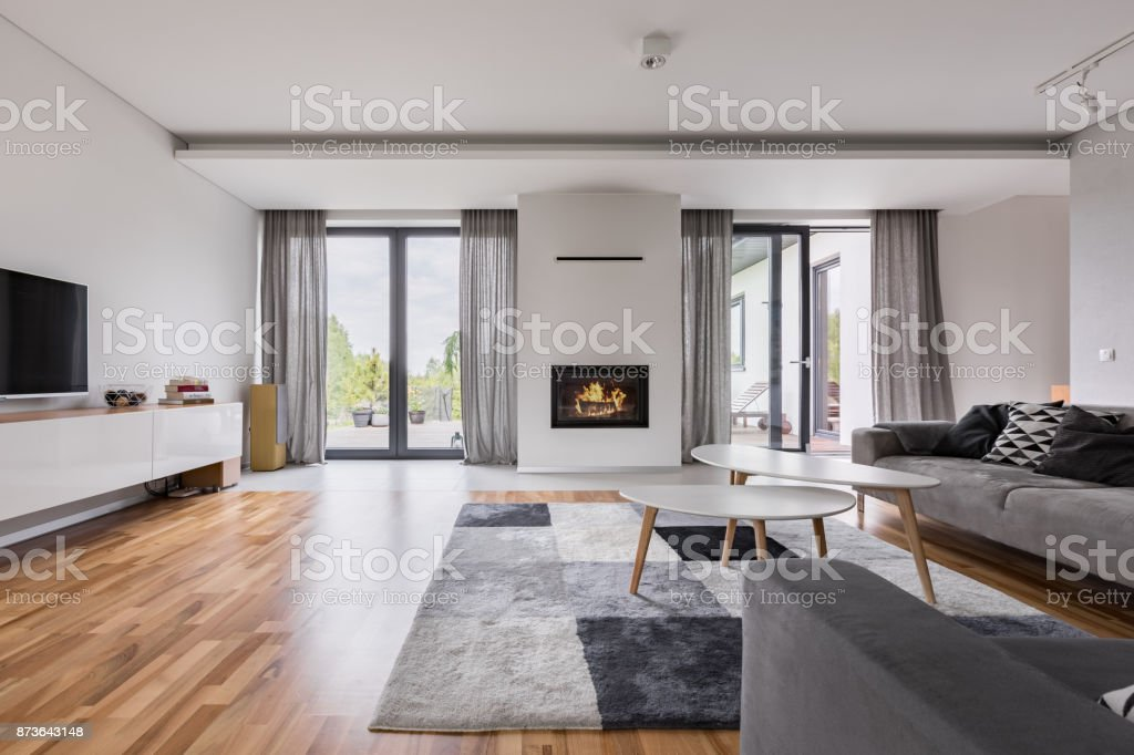 Elegant living room with fireplace stock photo