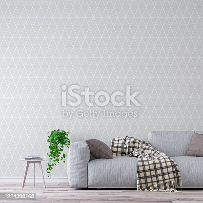 Elegant living room with gray sofa on the right and decoration on hardwood floor in front of gray and white geometric pattern wallpaper wall and copy space. Slight cross process added. 3D rendered image.