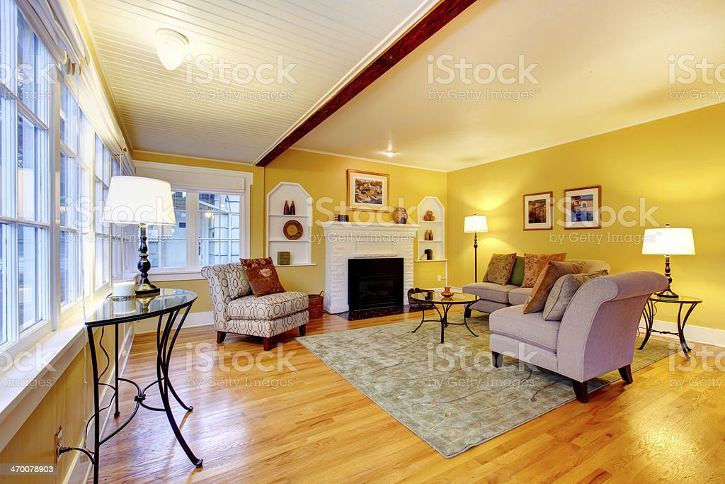Elegant Living Room With White Brick Background Fireplace Stock Photo Download Image Now Istock
