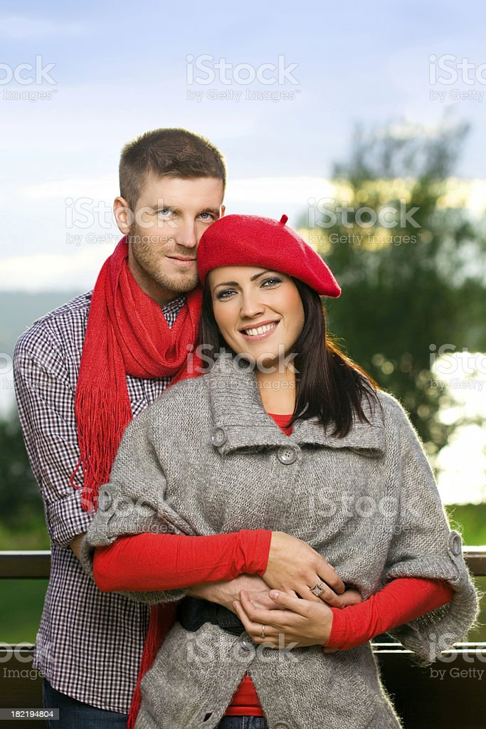 Elegant Loving Couple, Fall Fashion stock photo