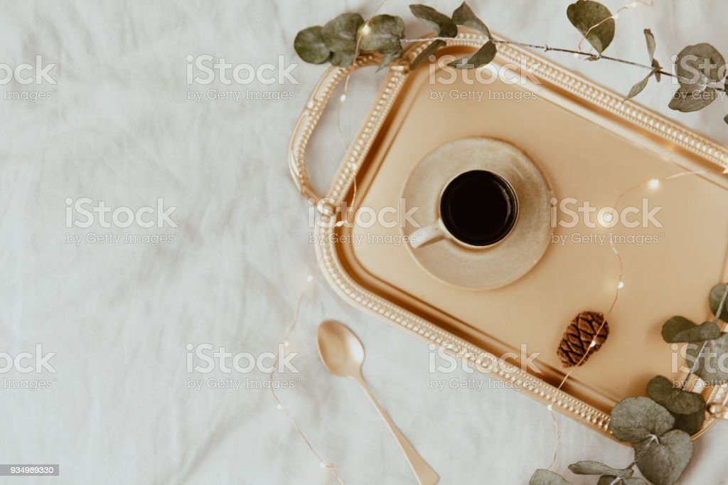 Elegant Luxury Morning. Flat Lay composition with coffee cup on tray