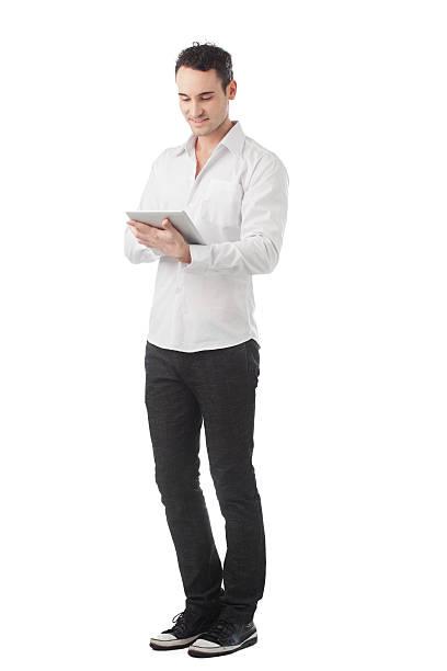 Elegant Man With Tablet Pc stock photo