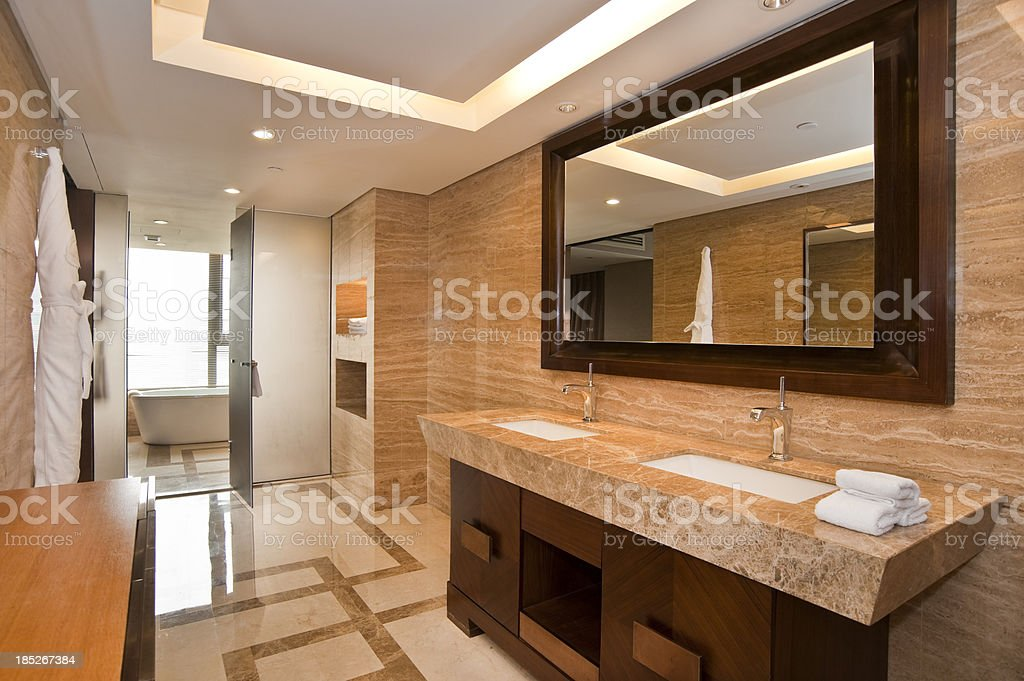 Elegant marble bathroom with two sinks stock photo