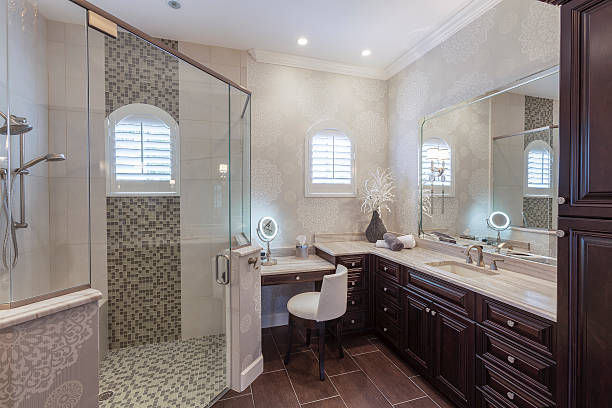 Elegant Master Bathroom in an Upscale Southwest Florida Home stock photo