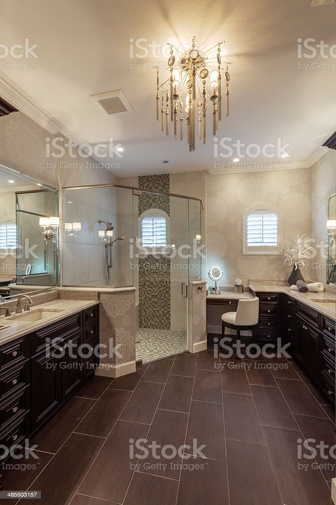 Elegant Master Bathroom in Southwest Florida Upscale Home stock photo