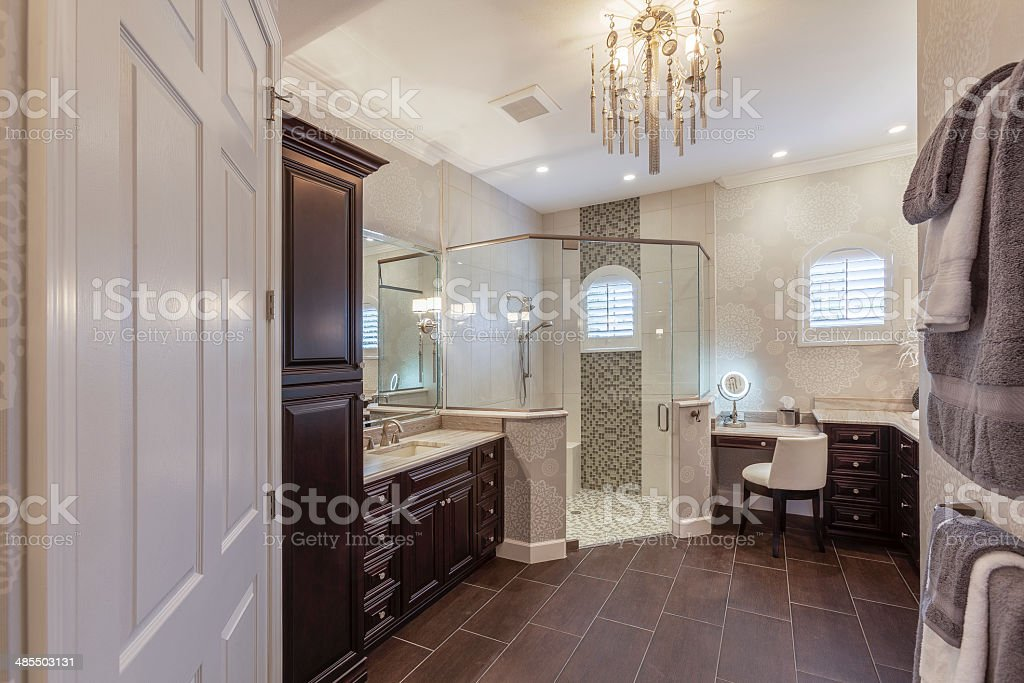 Elegant Master Bathroom in Upscale Southwest Florida Home stock photo