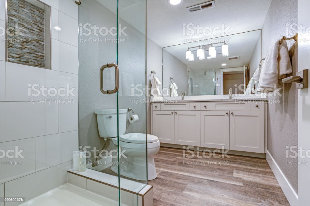 Elegant Master Bathroom With Double Vanity Cabinet Stock Photo Download Image Now Istock