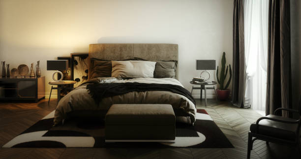 Elegant Master Bedroom Interior stock photo
