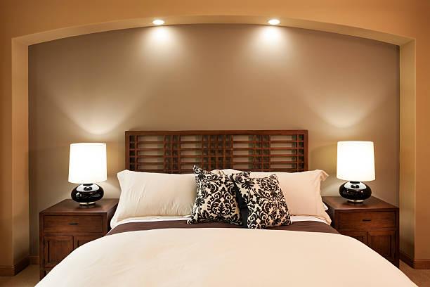 Elegant master bedroom scene. stock photo