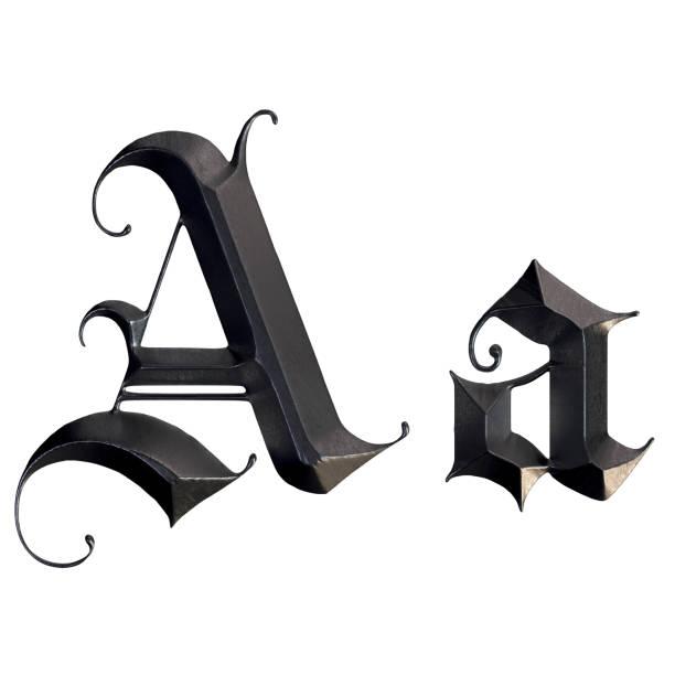 elegante mittelalterliche gotische buchstabe a. 3d rendering - handschriftliche typografie stock-fotos und bilder
