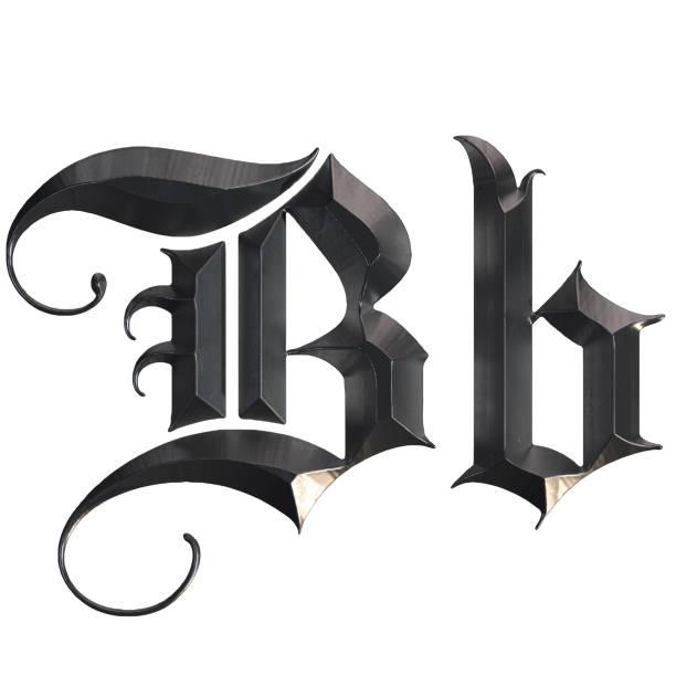 elegante mittelalterliche gotische buchstabe b. 3d rendering - handschriftliche typografie stock-fotos und bilder
