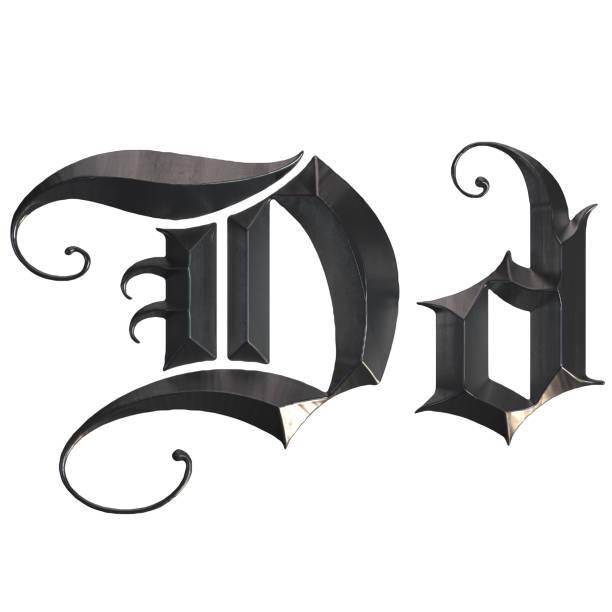 elegante mittelalterliche gotische buchstabe d. 3d rendering - handschriftliche typografie stock-fotos und bilder