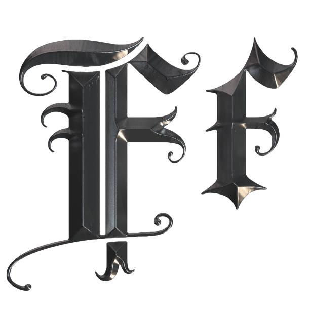 elegante mittelalterliche gotische buchstabe f. 3d rendering - handschriftliche typografie stock-fotos und bilder