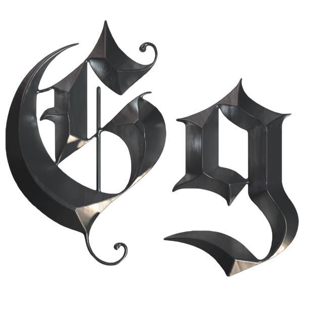 elegante mittelalterliche gotische buchstabe g. 3d rendering - handschriftliche typografie stock-fotos und bilder
