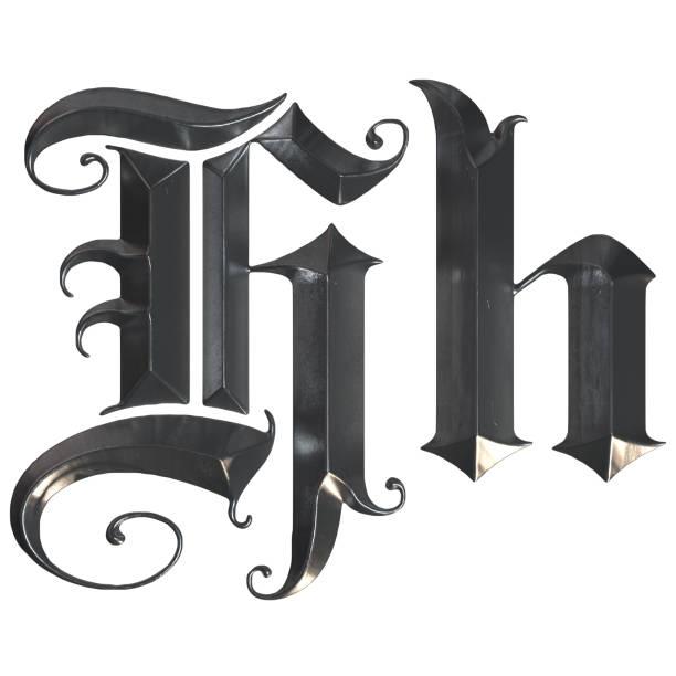 elegante mittelalterliche gotische buchstabe h. 3d rendering - handschriftliche typografie stock-fotos und bilder