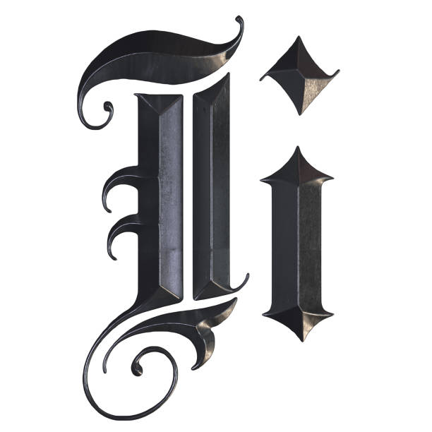 elegante mittelalterliche gotische buchstabe i. 3d rendering - handschriftliche typografie stock-fotos und bilder