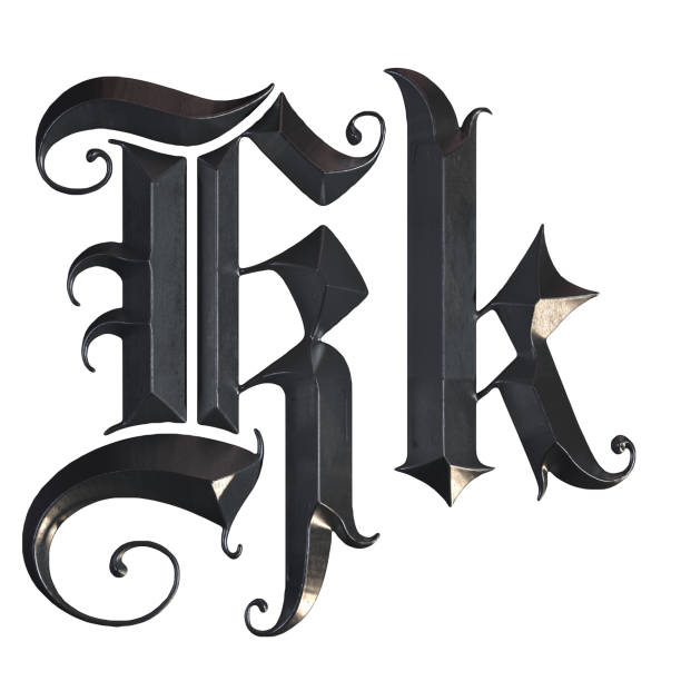 Elegant medieval gothic letter K. 3d rendering 3d render of an elegant gothic font in metal texture k icon stock pictures, royalty-free photos & images