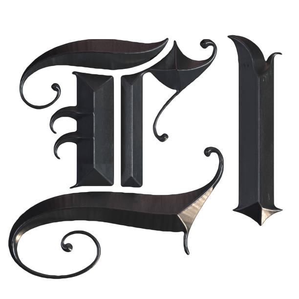elegante mittelalterliche gotische buchstabe l. 3d rendering - handschriftliche typografie stock-fotos und bilder