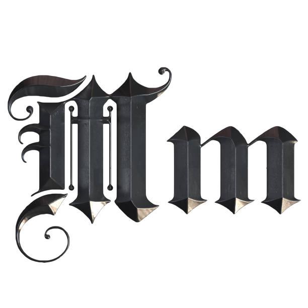 elegante mittelalterliche gotische buchstabe m. 3d rendering - handschriftliche typografie stock-fotos und bilder