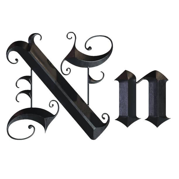 elegante mittelalterliche gotische buchstabe n. 3d rendering - handschriftliche typografie stock-fotos und bilder