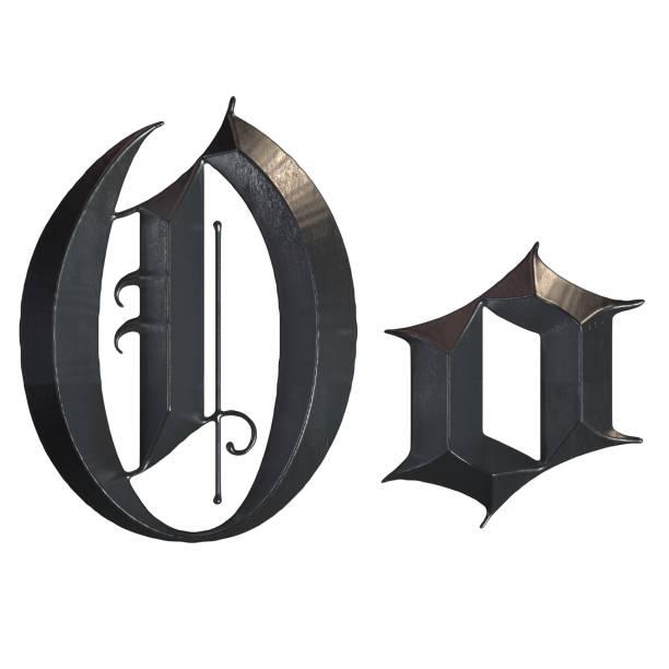 elegante mittelalterliche gotische buchstabe o. 3d rendering - handschriftliche typografie stock-fotos und bilder