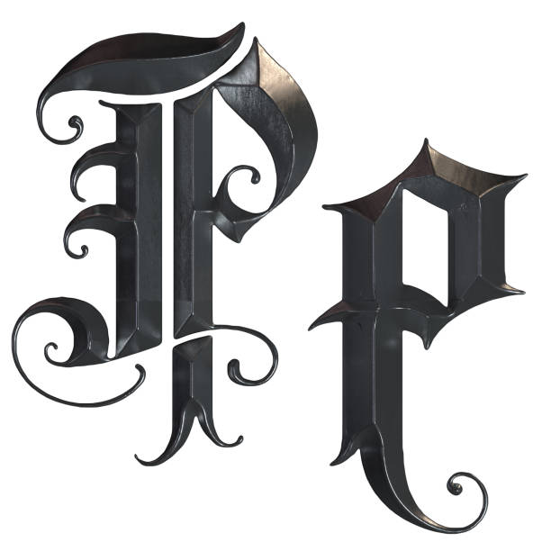 elegante mittelalterliche gotische buchstabe p. 3d rendering - handschriftliche typografie stock-fotos und bilder