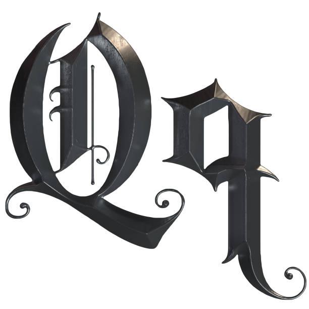 elegante mittelalterliche gotische buchstabe q. 3d rendering - handschriftliche typografie stock-fotos und bilder