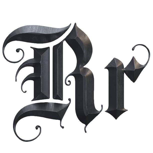 elegante mittelalterliche gotische buchstabe r. 3d rendering - handschriftliche typografie stock-fotos und bilder