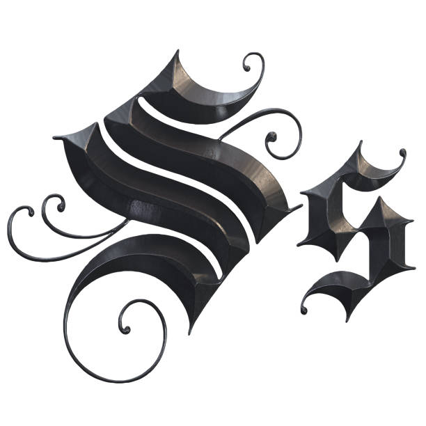 elegante mittelalterliche gotische buchstabe s. 3d rendering - handschriftliche typografie stock-fotos und bilder